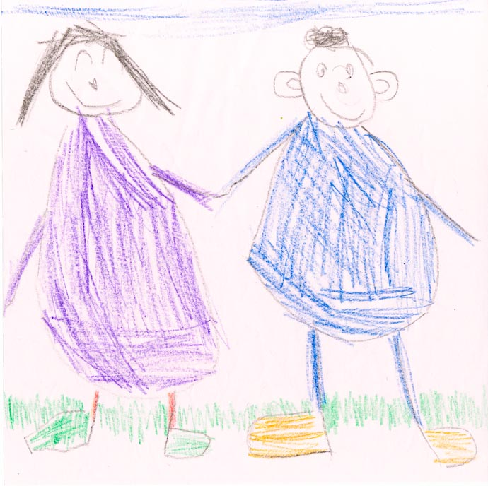 Mizuki and Anthony Drawing by Anthony (five years two months) (used without permission, but if he sues me, I'll put him to bed without supper) -- http://regex.info/blog/