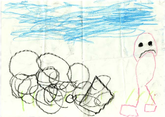 Drawing by four-year-old Anthony of a sad Daddy stymied by some rocks