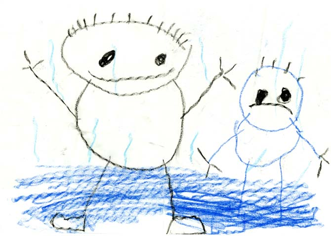 Drawing by four-year-old Anthony of a sad himself and a happy Daddy, in the rain