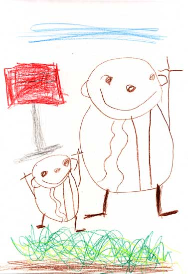 Anthony's drawing of himself and Mommy, under blue skys and near a post box, in front of grass. They have their arm/arms raised in cheer because they're happy that the grass is growing. Dran Jan 7, 2007