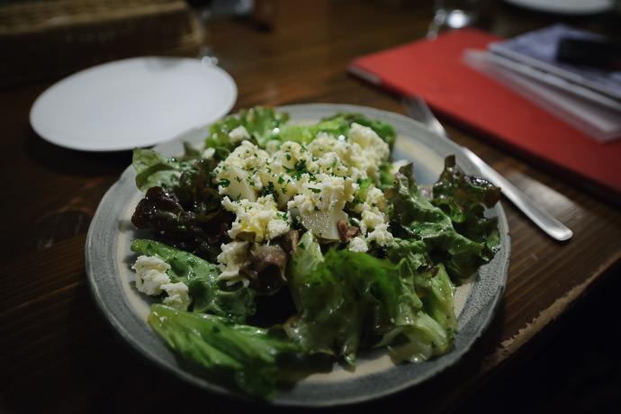 Salad with Cheeze and Potato -- Via Transito Italian Restaurant -- Kyoto, Japan -- Copyright 2015 Jeffrey Friedl, http://regex.info/blog/
