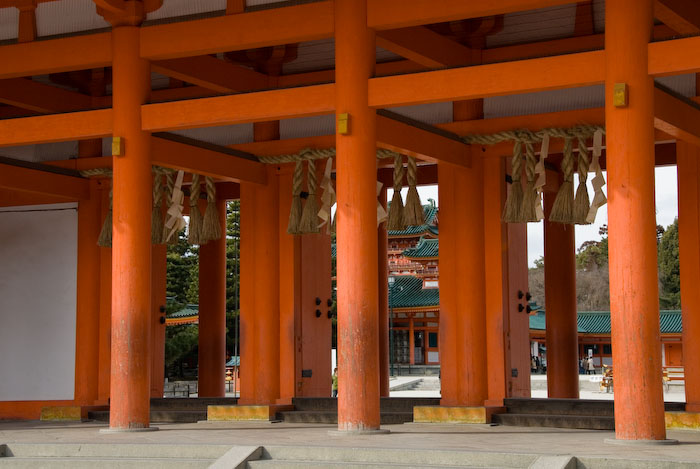 Close up of the main entrance of the Heian Shrine, Kyoto Japan