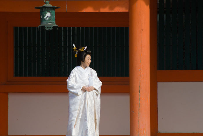 A Japanese bride in traditional dress, Heian Shrine, Kyoto Japan