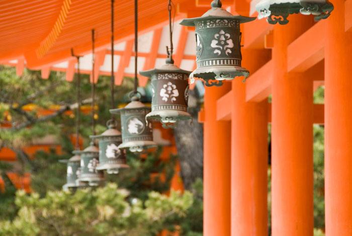 Hanging Lanterns at the Heian Shrine, Kyoto Japan