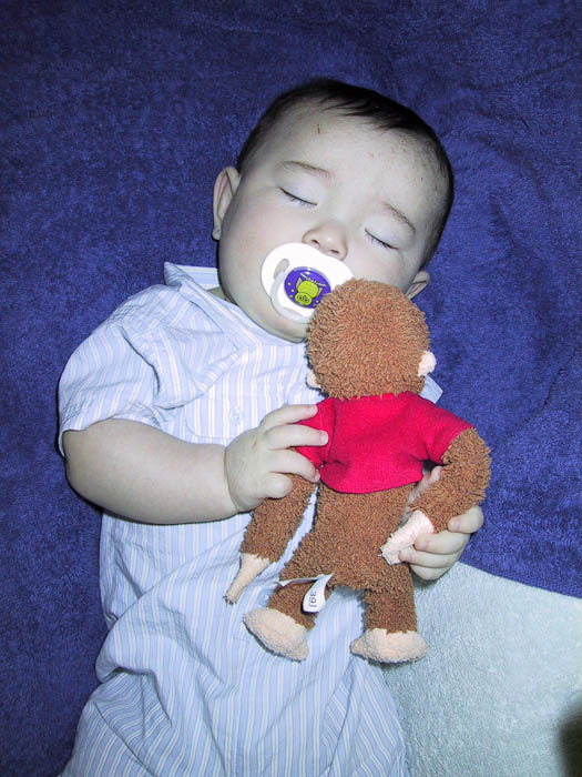 5½ Months first picture I can find of Anthony sleeping with George -- Copyright 2003 Jeffrey Friedl, http://regex.info/blog/