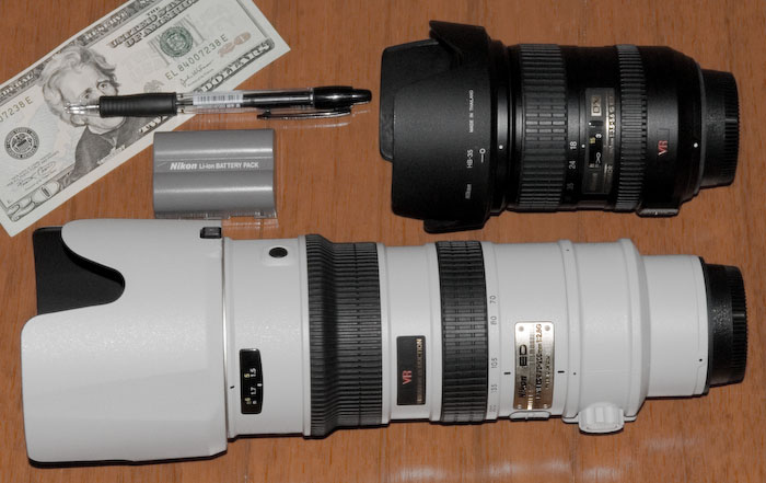 My old Nikon 18 -200 f/3.5-5.6 VR above My new Nikon 70 -200 f/2.8 VR below -- Kyoto, Japan -- Copyright 2006 Jeffrey Eric Francis Friedl