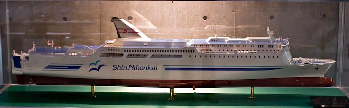 Scale model of the Shin Nihonkai's Suisen car ferry, in Tsuruga, Japan