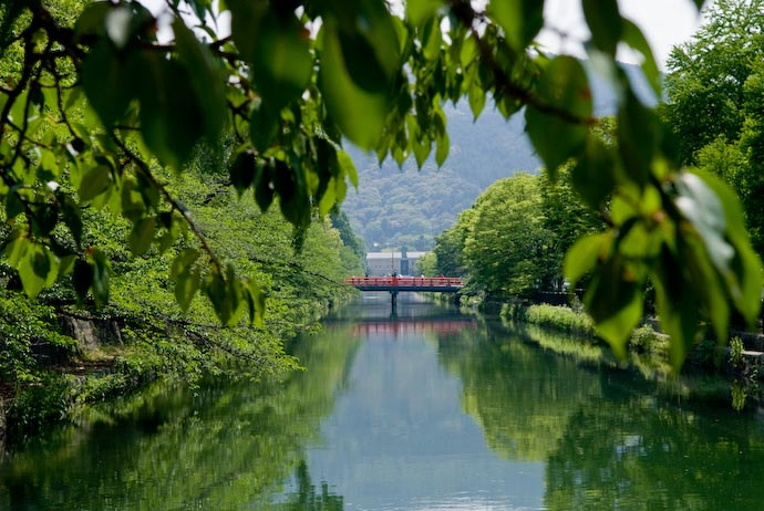 Summertime view of the Kyoto Biwako Canal as it passes through Okazaki, Kyoto, Japan