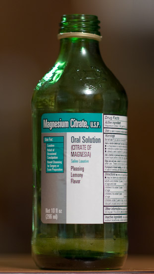 A bottle of magnesium citrate, an extremely effective cure for constipation