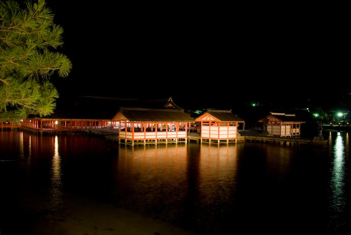 Outer Buildings of Itsukushima Shrine after the concert -- Miyajima, Hiroshima, Japa