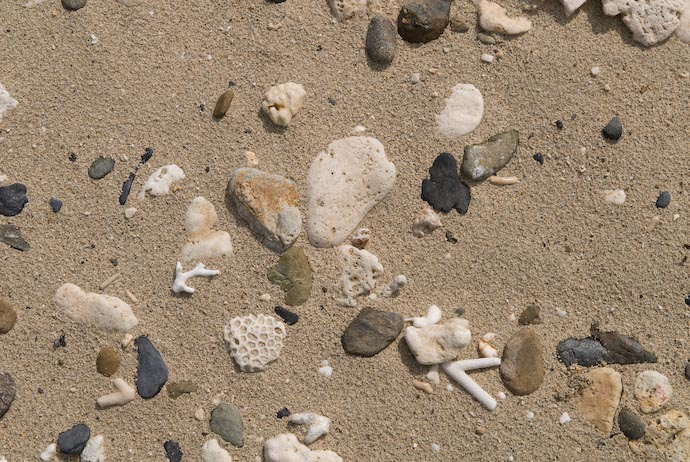 desktop background image of a section of a sandy beach filled with stones and bits of coral, on Kakeromajima, of the Amami Island Group, southern Japan -- Coral Beach -- Kakeromajima (Amami), Kagoshima, Japan -- Copyright 2008 Jeffrey Eric Francis Friedl, http://regex.info/blog/