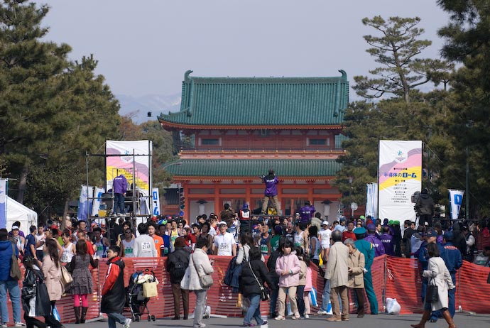 Finish Line – or – Crowded Road to the Heian Shrine -- Kyoto, Japan -- Copyright 2008 Jeffrey Eric Francis Friedl, http://regex.info/blog/