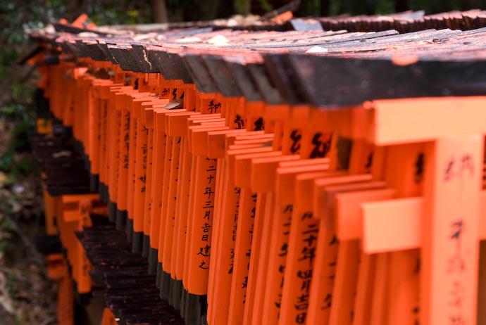 "Hundreds of Miniature ""Shrine Gate"" Offerings Fushimi Inari Shrine, Kyoto Japan -- Copyright 2008 Jeffrey Eric Francis Friedl, http://regex.info/blog/"