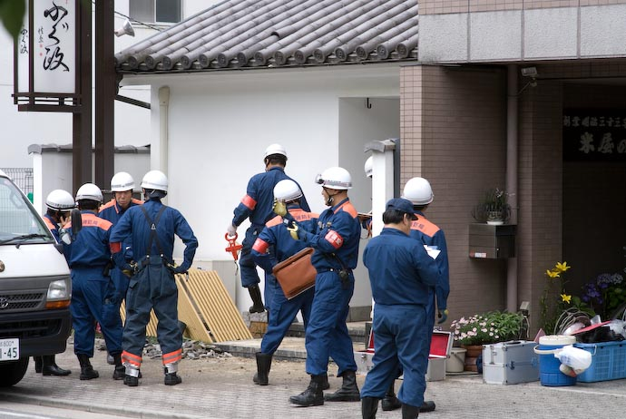 Fire Investigators -- Kyoto, Japan -- Copyright 2008 Jeffrey Eric Francis Friedl, http://regex.info/blog/