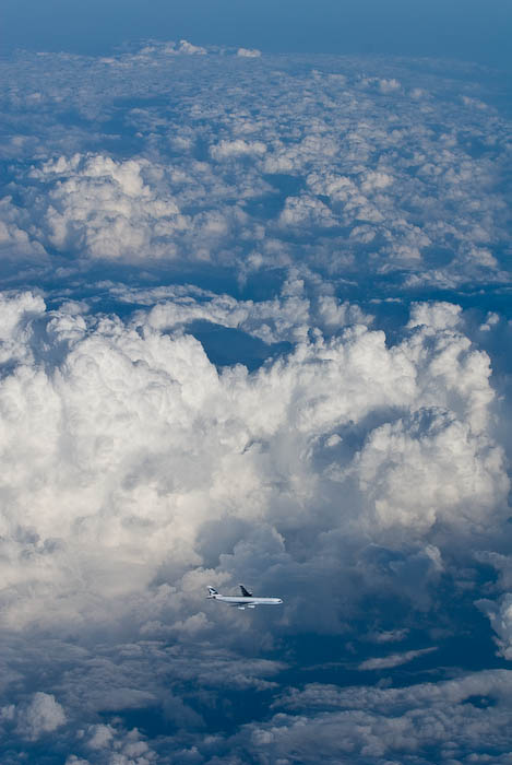 Cathay Pacific flight CX521 (Tokyo to Hong Kong), and Airbus A340, shown in flight above Japan, taken from Northwest Flight 69 (Detroit to Kansai) flying at 40,000ft