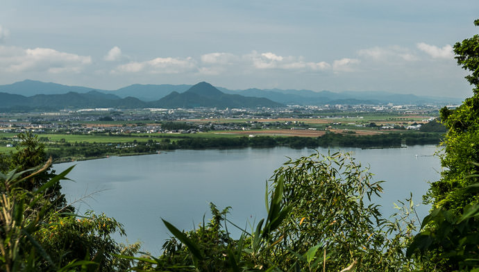 Nice View from 100m Above ( a little snippet of) the Lake 8:34 AM (+3h 7m) - 53 km (33.1 miles) -- Omihachiman, Shiga, Japan -- Copyright 2015 Jeffrey Friedl, http://regex.info/blog/ -- This photo is licensed to the public under the Creative Commons Attribution-NonCommercial 4.0 International License http://creativecommons.org/licenses/by-nc/4.0/ (non-commercial use is freely allowed if proper attribution is given, including a link back to this page on http://regex.info/ when used online)