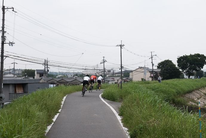Excellent View of Utility Cables very typical Japan 7:58 AM (+29 min) - 11 km (7.1 miles) taken while cycling at 32 kph (20 mph) -- Kyoto, Japan -- Copyright 2015 Jeffrey Friedl, http://regex.info/blog/