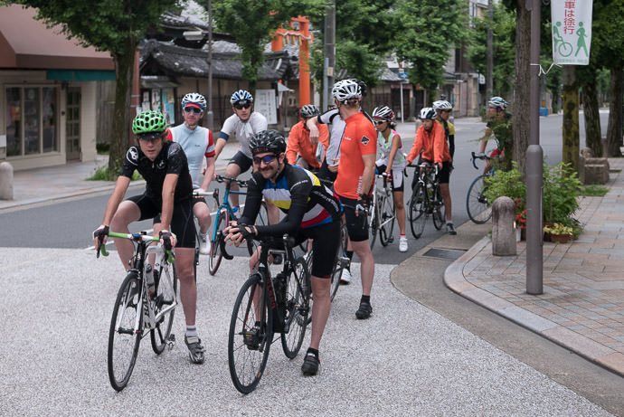 Waiting at a Traffic Light like good cyclists do -- Kyoto, Japan -- Copyright 2015 Jeffrey Friedl, http://regex.info/blog/