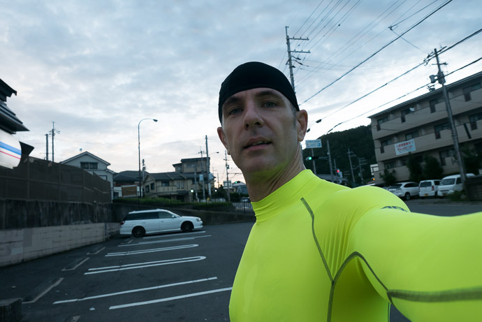 5am Selfie 5:08 am (from start: 44 min / 11 km / 7.1 miles) Ichihara Lawsons (ローソン 静市市原) -- Ichihara Lawsons (ローソン 静市市原) -- Kyoto, Japan -- Copyright 2015 Jeffrey Friedl, http://regex.info/blog/