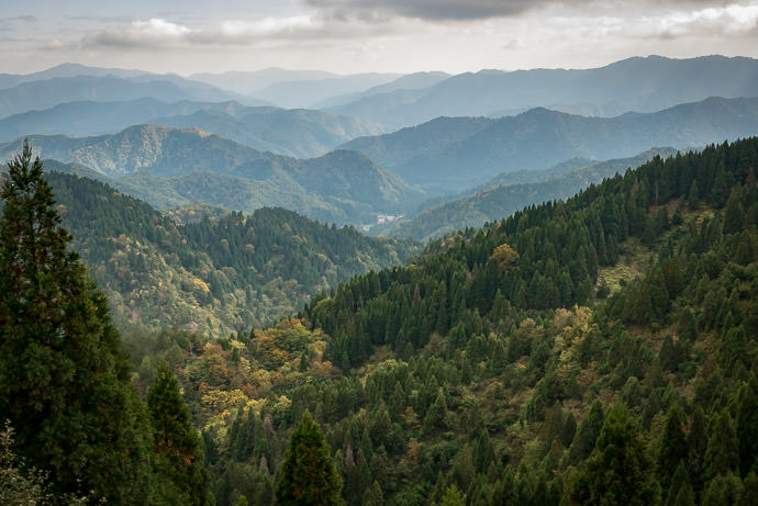 Southern View from Onyu Pass is starting to show a bit of color -- Onyu Toge (おにゅう峠) -- Takashima, Shiga, Japan -- Copyright 2015 Jeffrey Friedl, http://regex.info/blog/ -- This photo is licensed to the public under the Creative Commons Attribution-NonCommercial 4.0 International License http://creativecommons.org/licenses/by-nc/4.0/ (non-commercial use is freely allowed if proper attribution is given, including a link back to this page on http://regex.info/ when used online)