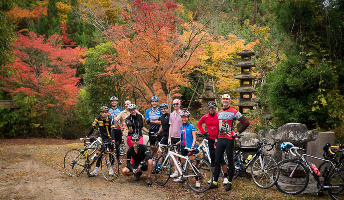 NORU Kyoto's First Social Ride Minobu, James, Antony, Lianca, Joshua, Scotty, Tomas, Ross, Kumiko, Michael, Me -- Kyomi Pass (京見峠) -- Kyoto, Japan -- Copyright 2015 Jeffrey Friedl, http://regex.info/blog/