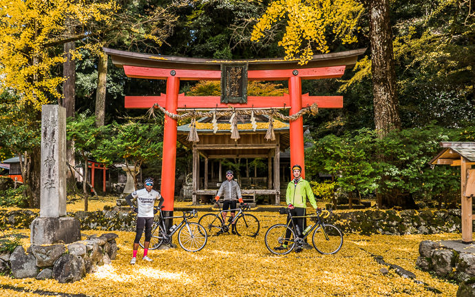 desktop background image of a fall-foliage scene in Kyoto, Japan -- Back Here Again with Michael and Andy -- Iwato Ochiba Shrine (岩戸落葉神社) -- Copyright 2015 Jeffrey Friedl, http://regex.info/blog/