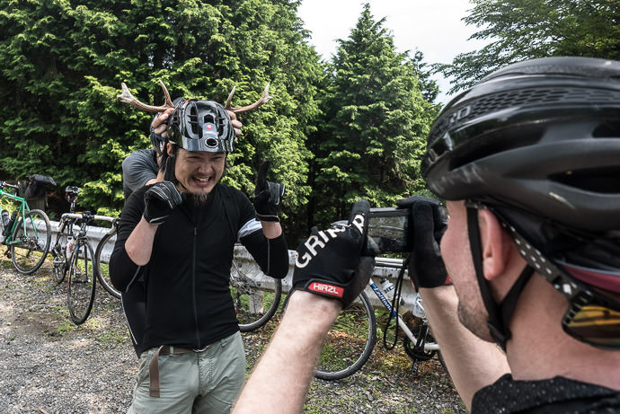 Ryuta Horsing Around (so to speak) with some antlers found along the way -- Kyoto, Japan -- Copyright 2016 Jeffrey Friedl, http://regex.info/blog/