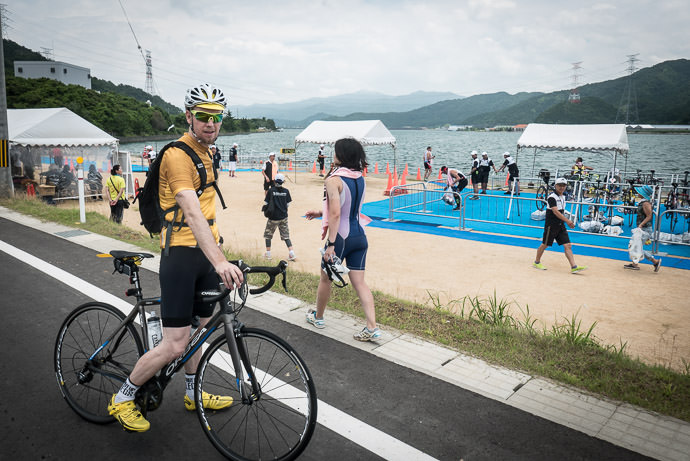 Triathlon Marshaling Area that we happened on (I'll stick to the bike, thank you) -- Ōi-gun -- Kyoto, Japan -- Copyright 2016 Jeffrey Friedl, http://regex.info/blog/