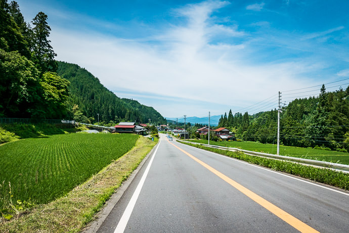 Least-Fun Part of the Ride 10:50am - taken while cycling at 44 kph (27 mph) -- Takayama, Gifu, Japan -- Copyright 2016 Jeffrey Friedl, http://regex.info/blog/ -- This photo is licensed to the public under the Creative Commons Attribution-NonCommercial 4.0 International License http://creativecommons.org/licenses/by-nc/4.0/ (non-commercial use is freely allowed if proper attribution is given, including a link back to this page on http://regex.info/ when used online)