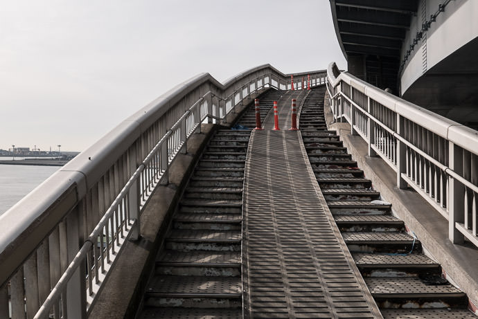 No Wheelchair Access last bit of the ramp -- Osaka, Japan -- Copyright 2017 Jeffrey Friedl, http://regex.info/blog/ -- This photo is licensed to the public under the Creative Commons Attribution-NonCommercial 4.0 International License http://creativecommons.org/licenses/by-nc/4.0/ (non-commercial use is freely allowed if proper attribution is given, including a link back to this page on http://regex.info/ when used online)