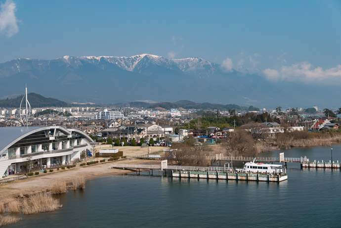 Still Snow in the mountains to the northwest -- Biwako Ohash (琵琶湖大橋) -- Shiga, Japan -- Copyright 2017 Jeffrey Friedl, http://regex.info/blog/ -- This photo is licensed to the public under the Creative Commons Attribution-NonCommercial 4.0 International License http://creativecommons.org/licenses/by-nc/4.0/ (non-commercial use is freely allowed if proper attribution is given, including a link back to this page on http://regex.info/ when used online)