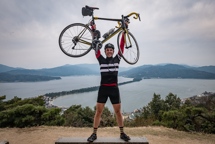 Overlooking Amanohashidate (天橋立) 155km (96mi) into a 293km (182mi) ride in the furthest corner of Kyoto Prefecture, Japan -- Amanohashidate (天橋立) -- Miyazu, Kyoto, Japan -- Copyright 2017 Jeffrey Friedl, http://regex.info/blog/
