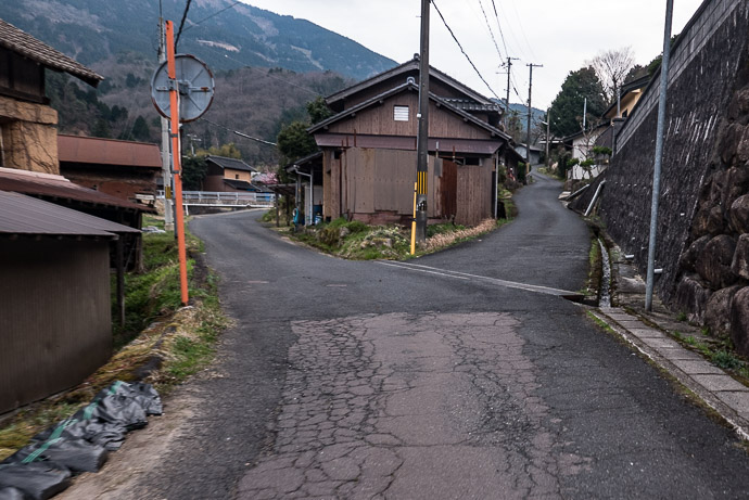 Happy that I don't have to take the steep road on the right (except I do) 5:59 PM (from start: 10h 0m / 184 km / 114.2 miles) -- Yosa-gun -- Yosa-gun, Kyoto, Japan -- Copyright 2017 Jeffrey Friedl, http://regex.info/blog/