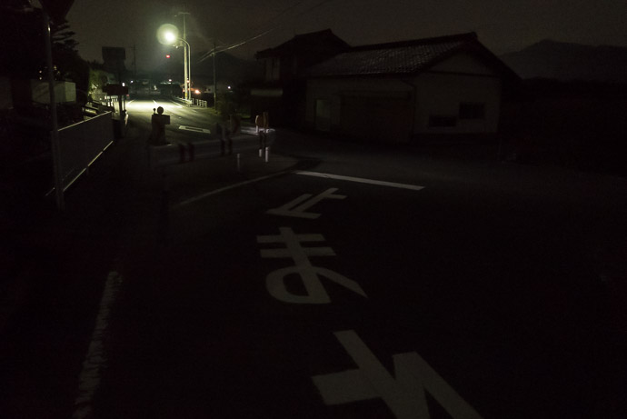 Brightly-Lit Area long stretches between villages had nothing but the half moon 7:32 PM (from start: 11h 33m / 210 km / 130.6 miles) -- Ayabe, Kyoto, Japan -- Copyright 2017 Jeffrey Friedl, http://regex.info/blog/
