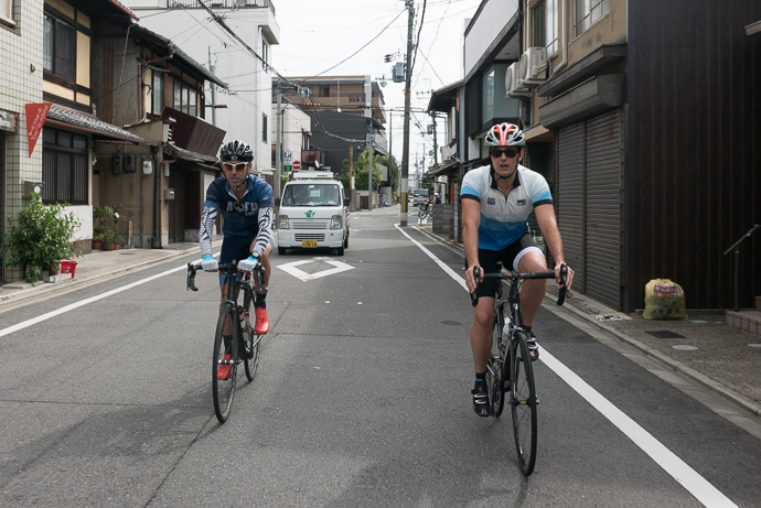 Making Our Way through quiet streets towards the mountains -- Kyoto, Japan -- Copyright 2017 Jeffrey Friedl, http://regex.info/blog/
