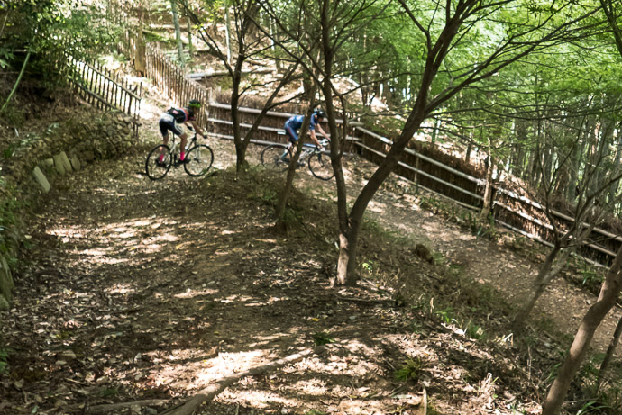 Unexpected Off-Road Descent Nigel follows Tomas -- Nasty 21% Slope -- Kyoto, Japan -- Copyright 2017 Jeffrey Friedl, http://regex.info/blog/