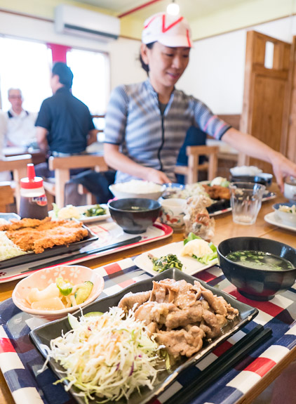 $18 Lunch $18 total for four people -- 食堂ウージ畑 -- Nanjo, Okinawa, Japan -- Copyright 2018 Jeffrey Friedl, http://regex.info/blog/