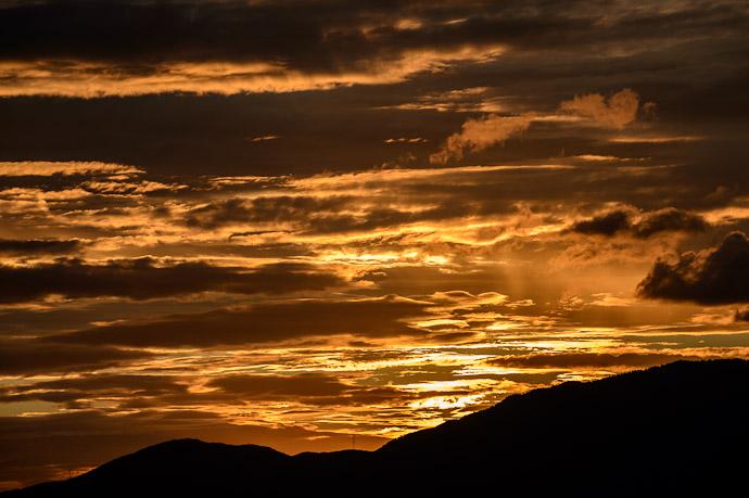 Behind the Mountains still seven minutes before sunset  --  Shogunzuka (将軍塚)  --  Kyoto, Japan  --  Copyright 2012 Jeffrey Friedl, http://regex.info/blog/