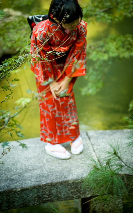 desktop background image of a young Japanese girl in kimono on a small garden bridge  --  Inquisitive Kid checking out the carp at the Shoren'in Temple (青蓮院), Kyoto Japan  --  Shoren'in Temple (青蓮院)  --  Copyright 2012 Jeffrey Friedl, http://regex.info/blog/