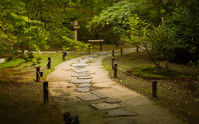 desktop background image of a path at the garden of the Shoren  --  Garden Path at Twilight  --  Shoren'in Temple (青蓮院)  --  Kyoto, Japan  --  Copyright 2012 Jeffrey Friedl, http://regex.info/blog/  --  This photo is licensed to the public under the Creative Commons Attribution-NonCommercial 3.0 Unported License http://creativecommons.org/licenses/by-nc/3.0/ (non-commercial use is freely allowed if proper attribution is given, including a link back to this page on http://regex.info/ when used online)