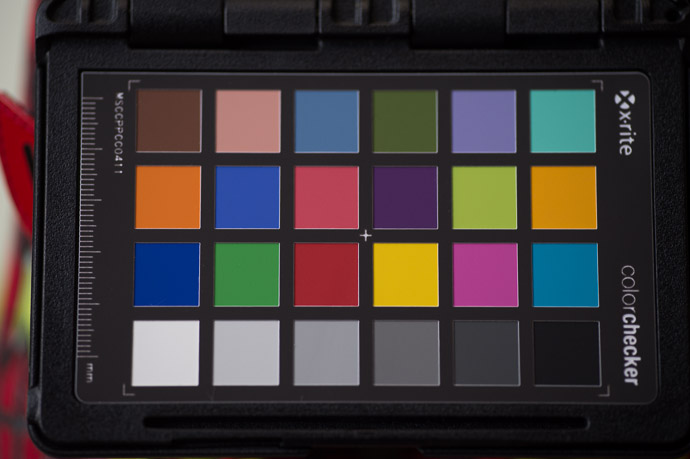 X-Rite Color Checker Passport via the Lightroom-default &#8220;Adobe Standard&#8221; camera-calibration profile  --  Kyoto, Japan  --  Copyright 2012 Jeffrey Friedl, http://regex.info/blog/  --  This photo is licensed to the public under the Creative Commons Attribution-NonCommercial 3.0 Unported License http://creativecommons.org/licenses/by-nc/3.0/ (non-commercial use is freely allowed if proper attribution is given, including a link back to this page on http://regex.info/ when used online)