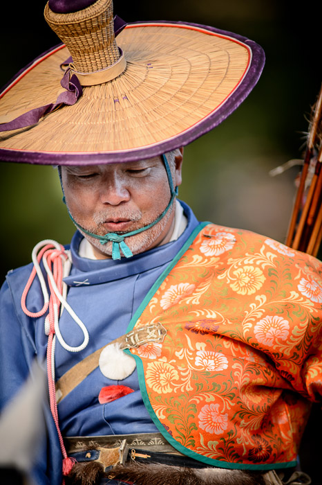 Mounted Archer Whispering to His Horse  --  Jidai Matsuri (時代祭)  --  Kyoto, Japan  --  Copyright 2012 Jeffrey Friedl, http://regex.info/blog/  --  This photo is licensed to the public under the Creative Commons Attribution-NonCommercial 3.0 Unported License http://creativecommons.org/licenses/by-nc/3.0/ (non-commercial use is freely allowed if proper attribution is given, including a link back to this page on http://regex.info/ when used online)