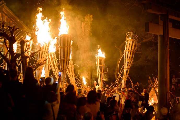 Propping Up the Torches  --  Kurama Fire Festival ()  --  Kyoto, Japan  --  Copyright 2012 Jeffrey Friedl, http://regex.info/blog/  --  This photo is licensed to the public under the Creative Commons Attribution-NonCommercial 3.0 Unported License http://creativecommons.org/licenses/by-nc/3.0/ (non-commercial use is freely allowed if proper attribution is given, including a link back to this page on http://regex.info/ when used online)