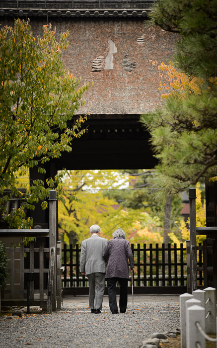 desktop background image of an old couple walking together in front of the main gate of the Myouhouin Temple (), Kyoto Japan  --  Together  --  Myouhouin Temple ()  --  Copyright 2012 Jeffrey Friedl, http://regex.info/blog/  --  This photo is licensed to the public under the Creative Commons Attribution-NonCommercial 3.0 Unported License http://creativecommons.org/licenses/by-nc/3.0/ (non-commercial use is freely allowed if proper attribution is given, including a link back to this page on http://regex.info/ when used online)