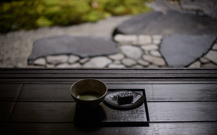 desktop background image of green tea and a sweet, in front of the garden of the Rurikou-in Temple (  ), Kyoto Japan  --  Lunch Green tea and a sweet, at the Rurikou-in Temple (  ), Kyoto Japan ( I normally don't eat lunch, but made an exception when Damien treated)  --  Rurikou-in Temple (  )  --  Copyright 2012 Jeffrey Friedl, http://regex.info/blog/  --  This photo is licensed to the public under the Creative Commons Attribution-NonCommercial 3.0 Unported License http://creativecommons.org/licenses/by-nc/3.0/ (non-commercial use is freely allowed if proper attribution is given, including a link back to this page on http://regex.info/ when used online)