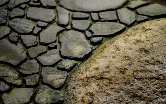 desktop background image of stepping-stone detail, at the Rurikou-in Temple (  ), Kyoto Japan  --  Step Yellow stepping-stone island in a lake of gray stone Rurikou-in Temple (  )  --  Rurikou-in Temple (  )  --  Copyright 2012 Jeffrey Friedl, http://regex.info/blog/  --  This photo is licensed to the public under the Creative Commons Attribution-NonCommercial 3.0 Unported License http://creativecommons.org/licenses/by-nc/3.0/ (non-commercial use is freely allowed if proper attribution is given, including a link back to this page on http://regex.info/ when used online)