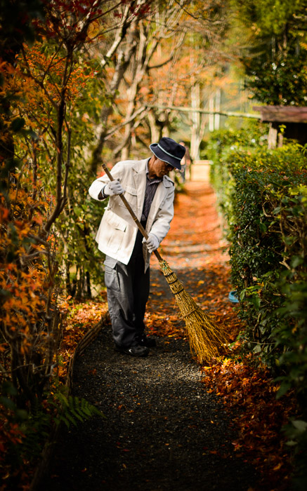 desktop background image of a fall-foliage garden scene at the Housen-in Temple (宝泉院), Kyoto Japan  --  Caretaker cleaning leaves from a path between the two gardens  --  Housen-in Temple (宝泉院)  --  Copyright 2012 Jeffrey Friedl, http://regex.info/blog/2013-02-16/2211  --  This photo is licensed to the public under the Creative Commons Attribution-NonCommercial 3.0 Unported License http://creativecommons.org/licenses/by-nc/3.0/ (non-commercial use is freely allowed if proper attribution is given, including a link back to this page on http://regex.info/ when used online)