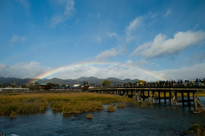 Rainbow Under Fairly Clear Skies Arashiyama (嵐山) area of Kyoto, Japan  --  Arashiyama (嵐山)  --  Copyright 2012 Jeffrey Friedl, http://regex.info/blog/  --  This photo is licensed to the public under the Creative Commons Attribution-NonCommercial 3.0 Unported License http://creativecommons.org/licenses/by-nc/3.0/ (non-commercial use is freely allowed if proper attribution is given, including a link back to this page on http://regex.info/ when used online)