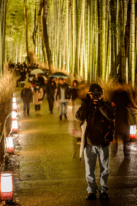 Paul Barr holding still for a longish (0.8 sec) exposure  --  Arashiyama Bamboo Forest (嵐山竹やぶ)  --  Kyoto, Japan  --  Copyright 2012 Jeffrey Friedl, http://regex.info/blog/  --  This photo is licensed to the public under the Creative Commons Attribution-NonCommercial 3.0 Unported License http://creativecommons.org/licenses/by-nc/3.0/ (non-commercial use is freely allowed if proper attribution is given, including a link back to this page on http://regex.info/ when used online)