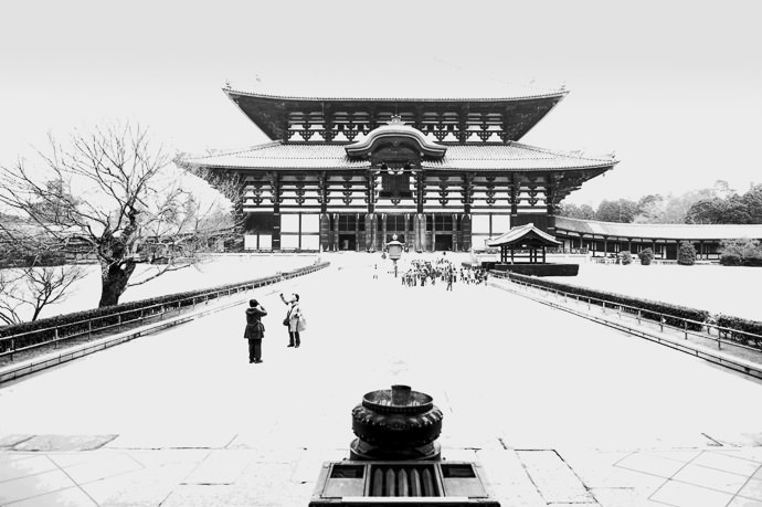 Massively Overexposed By Accident but sort of looks interesting in B&W -- Todaiji (東大寺) -- Nara, Japan -- Copyright 2012 Jeffrey Friedl, http://regex.info/blog/